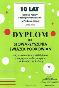 10 lat CKiIO - dyplom-podziekowania dla Związku Podkowian